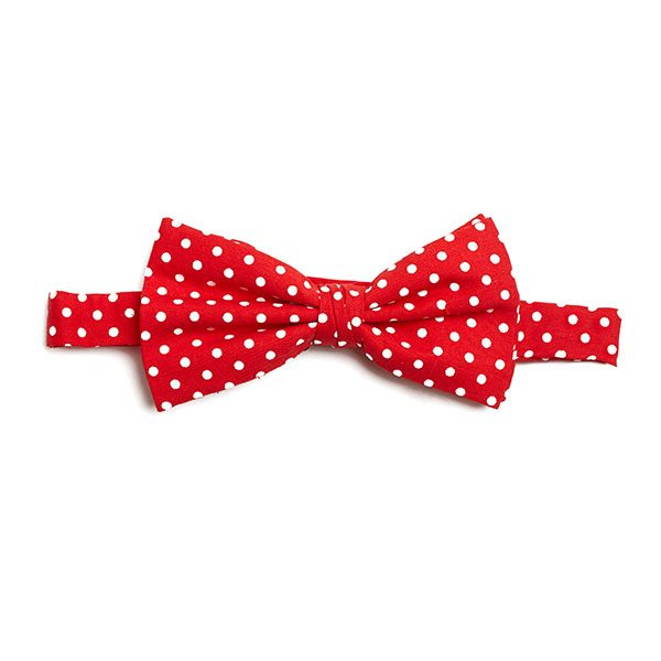 RED/WHITE POLKA DOTS BOW TIE-0
