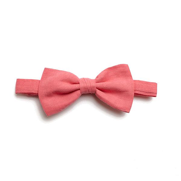 Plain Salmon Pink Bow Tie