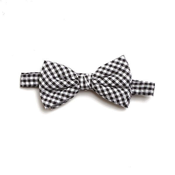 BLACK/WHITE GINGHAM BOW TIE-0