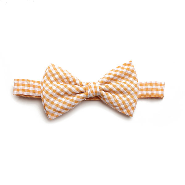 ORANGE/WHITE GINGHAM BOW TIE-0
