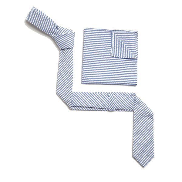 SKY BLUE/WHITE DIAGONAL STRIPES SKINNY TIE-0
