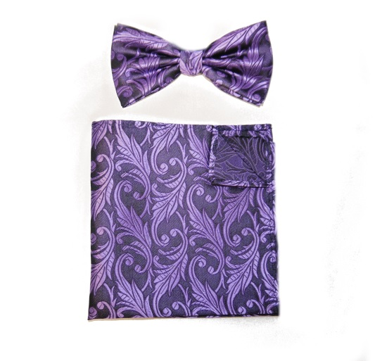 PURPLE/BLACK PAISLEY BOW TIE AND POCKET SQUARE-0