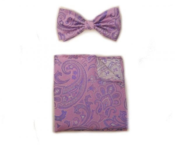 PINK/LAVENDER BOW TIE AND POCKET SQUARE-0