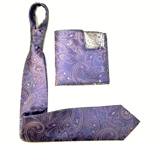 PURPLE/lilac SILK TIE AND POCKET SQUARE-0