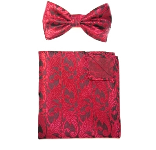 RED/BLACK PAISLEY SILK BOW TIE AND POCKET SQUARE-0
