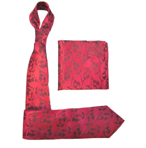 RED/BLACK PAISLEY SILK TIE AND POCKET SQUARE-0