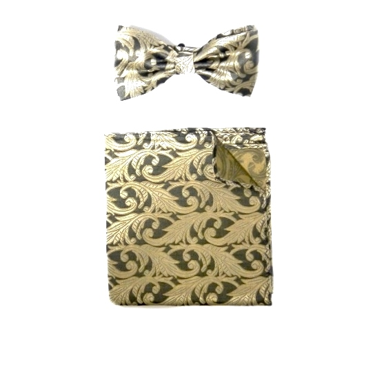 GOLD/BLACK SILK PAISLEY BOW TIE AND POCKET SQUARE-0