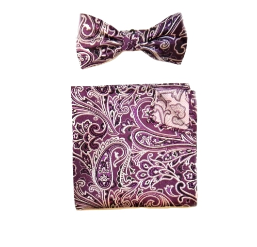 LILAC PAISLEY SILK BOW TIE AND POCKET SQUARE-0