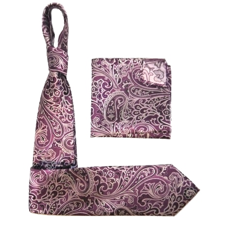 Purple/silver PAISLEY SILK TIE AND POCKET SQUARE-0