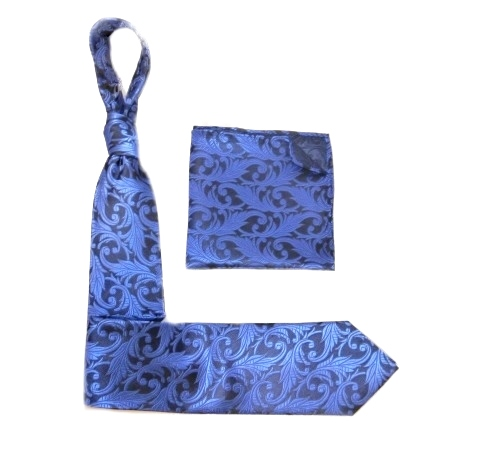 BLUE/Navy PAISLEY SILK TIE AND POCKET SQUARE-0