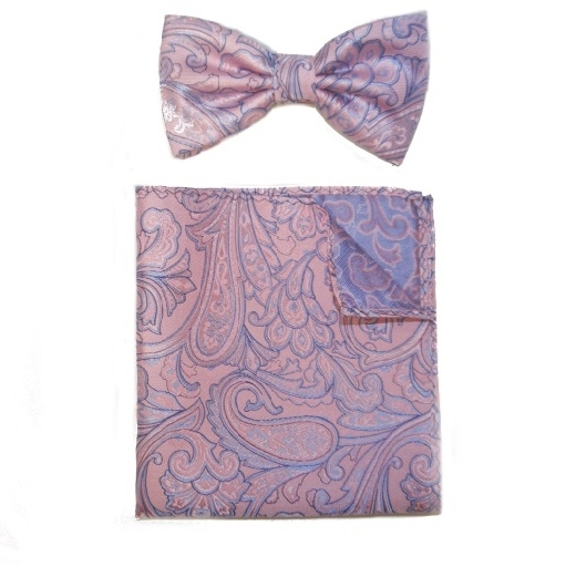 PINK/LILAC PAISLEY SILK BOW TIE AND POCKET SQUARE