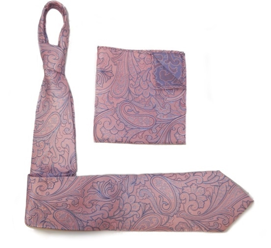 PINK/LILAC PAISLEY SILK TIE AND POCKET SQUARE -0