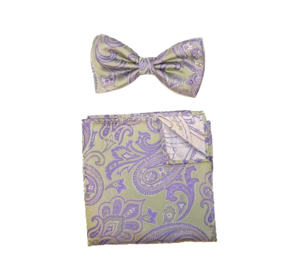 SAGE/LILAC SILK BOW TIE AND POCKET SQUARE-0