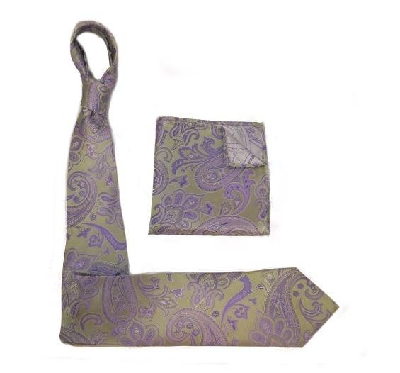 SAGE/LILAC SILK TIE AND POCKET SQUARE-0