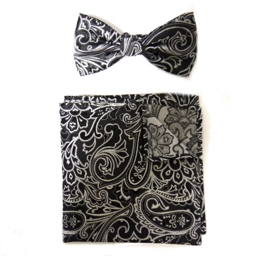 BLACK/SILVER SILK BOW TIE AND POCKET SQUARE -0