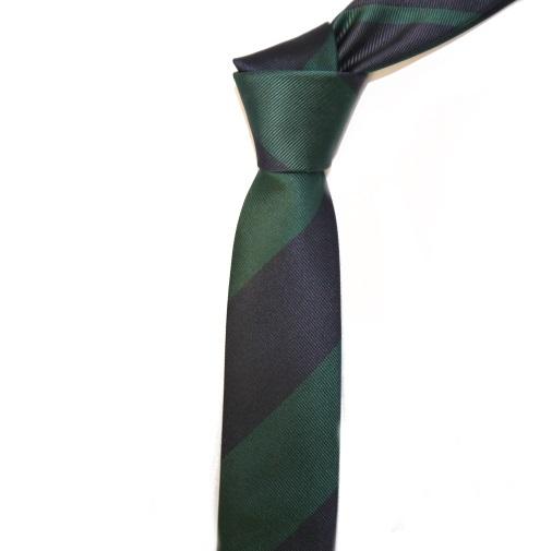 GREEN/NAVY BOLD STRIPES SKINNY TIE-0