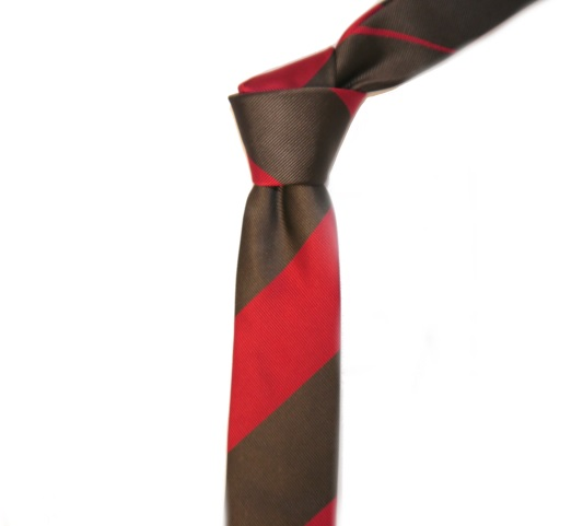 RED/BROWN BOLD STRIPES SKINNY TIE-0