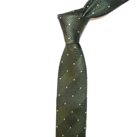 OLIVE GREEN/WHITE DOTS AND DIAMONDS SKINNY TIE-0