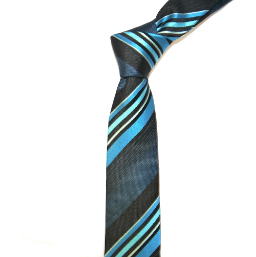 BLUE/NAVY DIAGONAL STRIPES SKINNY TIE-0