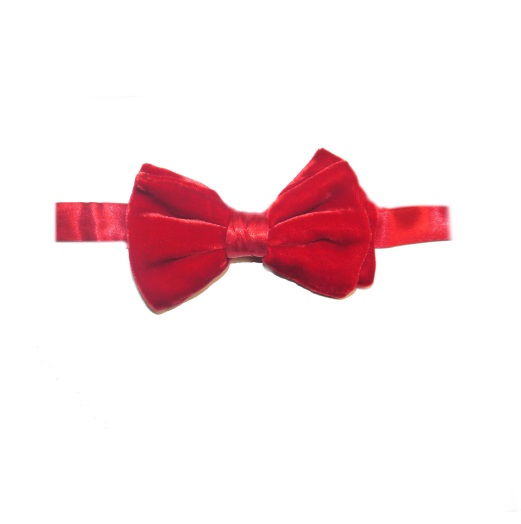 RED SILK VELVET BOW TIE-0