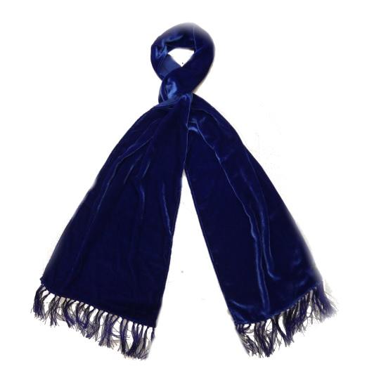 Royal BLUE SILK VELVET SCARF -0