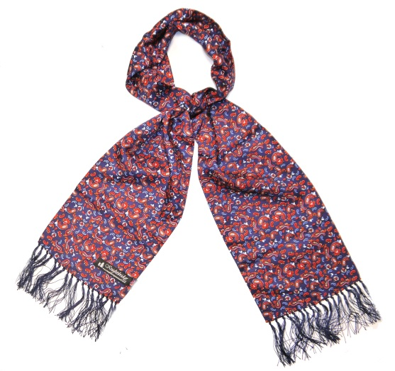 BLUE/RED/ORANGE PAISLEY SILK AVIATOR SCARF-0