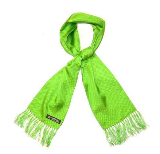 LIME GREEN/WHITE PIN DOT SILK AVIATOR SCARF-0
