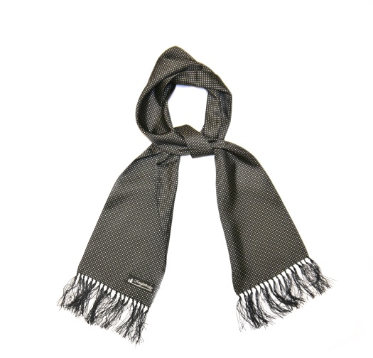 BLACK/WHITE PIN DOT SILK AVIATOR SCARF