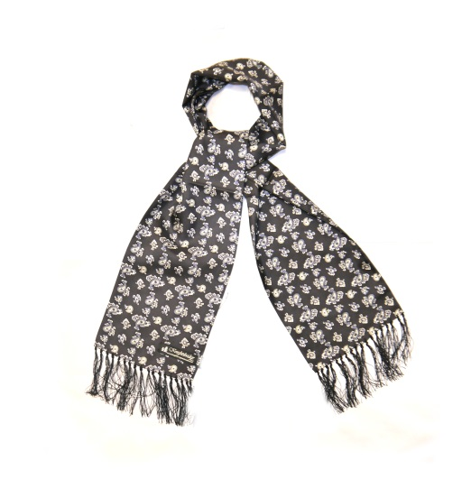 KNIGHTSBRIDGE RETRO BLACK AND WHITE SMALL PAISLEY SILK AVIATOR SCARF-0