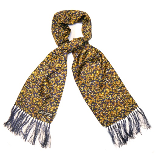 NAVY/YELLOW PAISLEY SILK AVIATOR SCARF-0