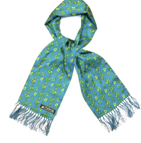 KNIGHTSBRIDGE RETRO BRIGHT GREEN AND YELLOW SMALL PAISLEY SILK AVIATOR SCARF-0