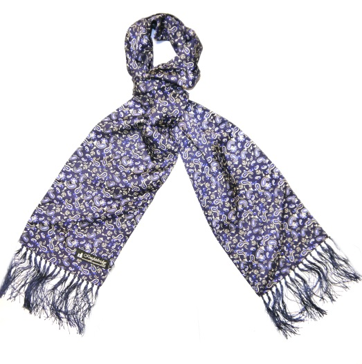 BLUE/WHITE PAISLEY SILK AVIATOR SCARF-0