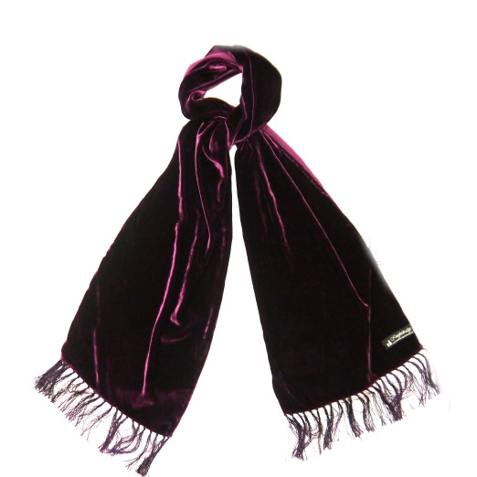 PURPLE SILK VELVET SCARF-0