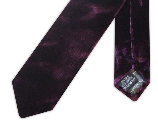 PURPLE SILK VELVET TIE -0