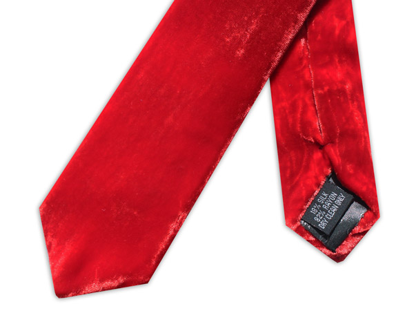 RED SILK VELVET TIE