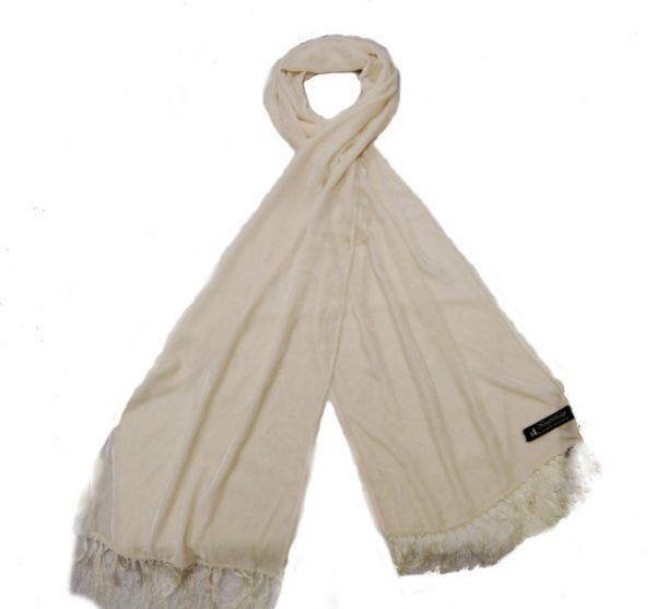 WHITE SILK VELVET DRESS SCARF -0