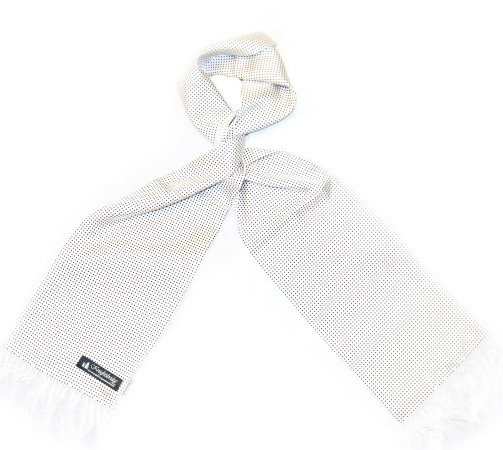 WHITE/BLACK PIN DOT SILK AVIATOR SCARF-0