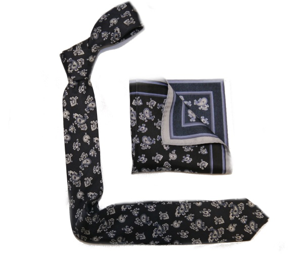 NAVY BLUE PAISLEY PRINTED SILK SKINNY TIE AND POCKET SQUARE