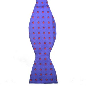 royal Blue/Red Polka Dots Silk Self Tie Bow Tie-0