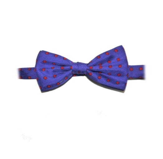 BLUE/RED POLKA DOT PRINTED SILK BOW TIE-0