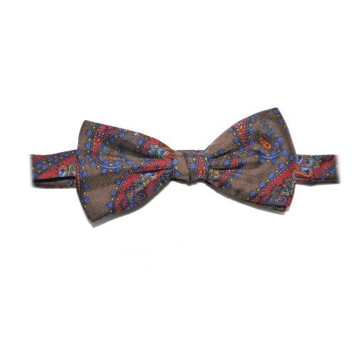 BROWN/BLUE/red PAISLEY PRINTED SILK BOW TIE -0