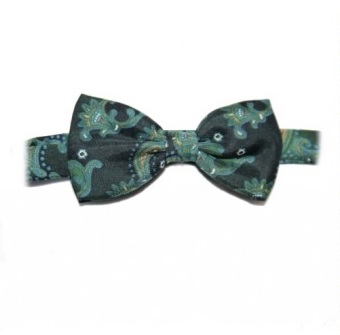 OLIVE GREEN PAISLEY PRINTED SILK BOW TIE