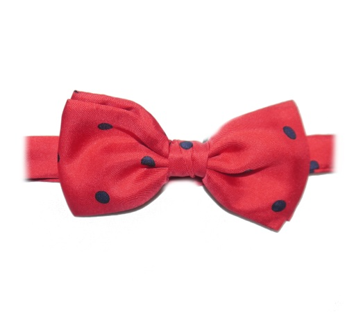 RED/navy POLKA DOTS PRINTED SILK BOW TIE-0