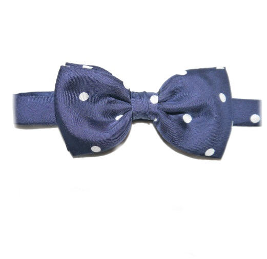 NAVY BLUE/WHITE POLKA DOT PRINTED SILK BOW TIE-0