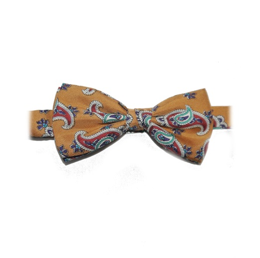 VINTAGE GOLD PAISLEY PRINTED SILK BOW TIE