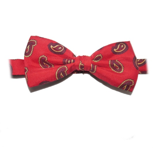 RED SMALL PAISLEY PRINTED SILK BOW TIE