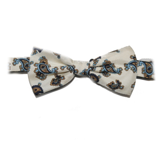 WHITE PAISLEY PRINTED SILK BOW TIE