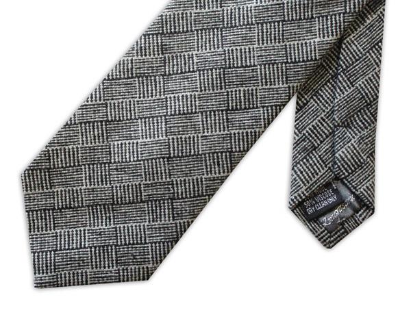 Black/White Geometric Tweed Tie