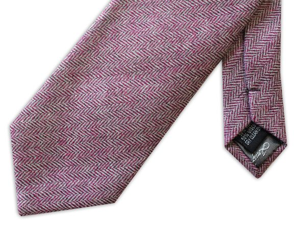 PINK herringbone TWEED TIE -0