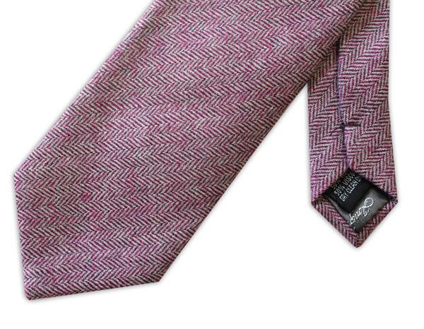 Pink Herringbone Tweed Tie